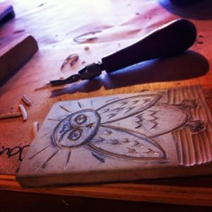 Owl Linoblock Print
