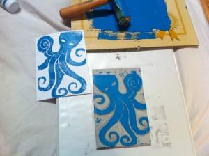 Octopus Linoprint